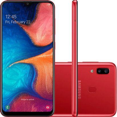 Celular Smartphone Samsung Galaxy A20 A205g 32gb Vermelho - Dual Chip
